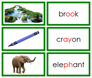 Green Phonogram Words & Picture Cards Set 2 - Montessori language