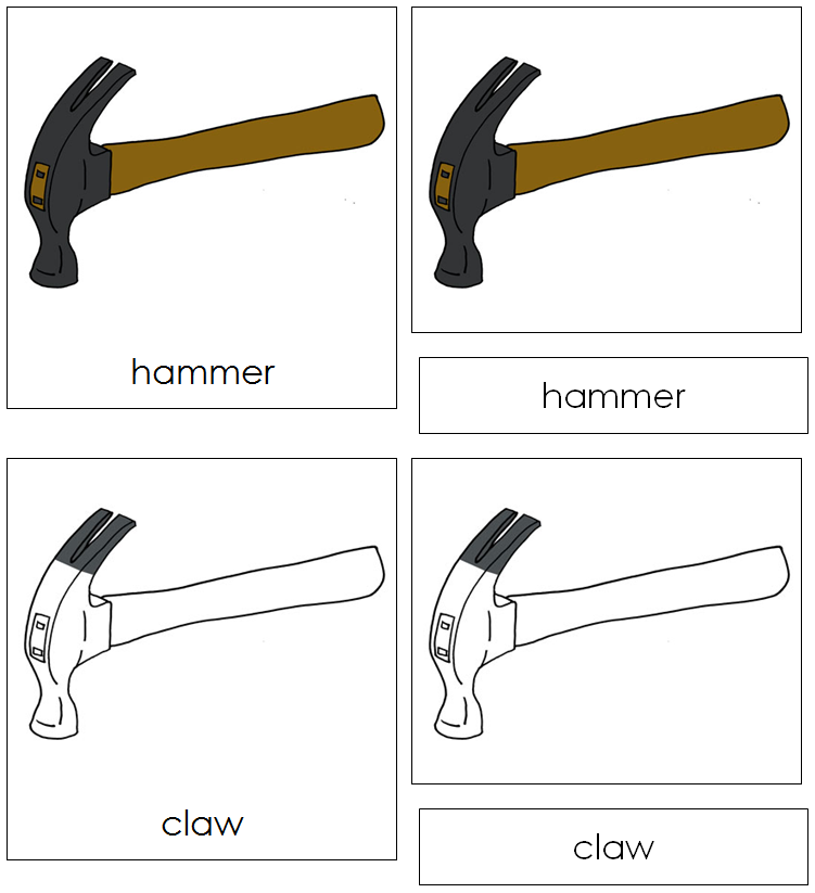 Hammer Nomenclature Cards - Montessori Print Shop