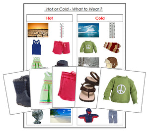 Hot or Cold: What to Wear? - preschool sorting cards