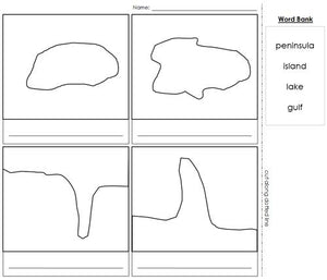 simple land and water forms blackline masters - Montessori geography materials
