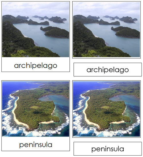 Land & Water Form Photo Cards - Montessori geography materials