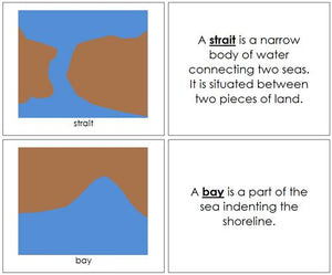 simple land and water form books - Montessori geography