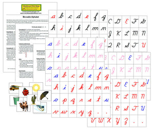Montessori Moveable Alphabet with Instructions (Cursive) - Montessori Print Shop