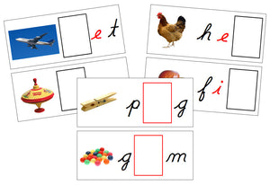 Printable Cursive Moveable Alphabet Sound Cards Bundle black/red - Montessori Print Shop