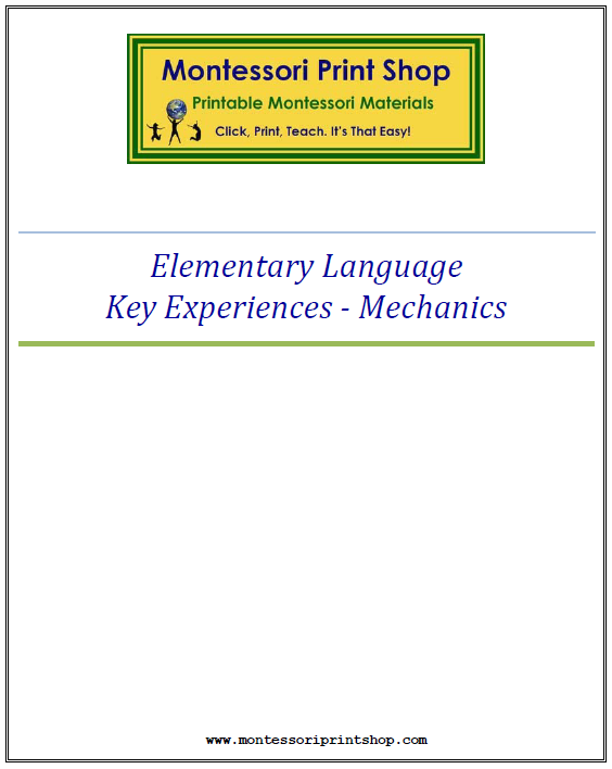 Elementary Montessori Grammar Mechanics Key Experiences - Montessori Print Shop
