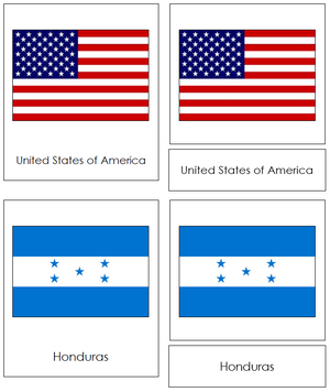 North American Flags - Montessori continent cards
