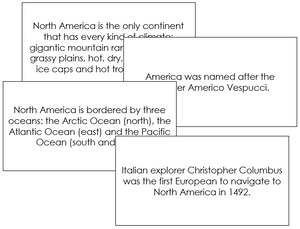North America Fun Facts - Montessori geography cards