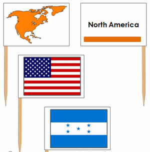 North American Flags: Pin Flags - Montessori geography materials