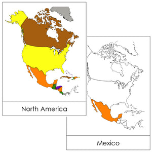 North America Flash Cards (color-coded) - Montessori Print Shop geography cards