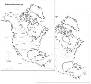 North American Waterways Map - Montessori Print Shop geography materials