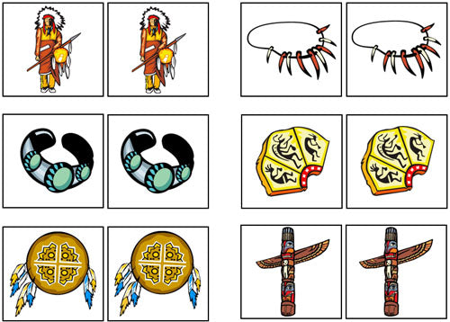 Native American Match-Up & Memory Game - Montessori Print Shop