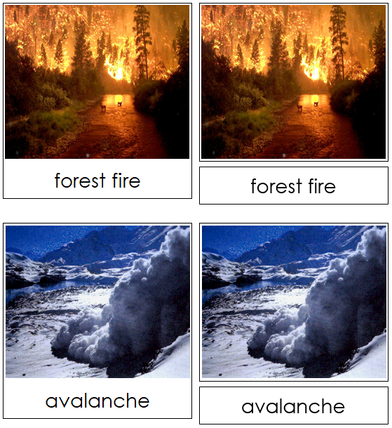 Natural Disasters Nomenclature Cards - Montessori Print Shop