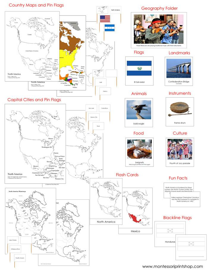 North America Geography continent study - printable photograhic cards