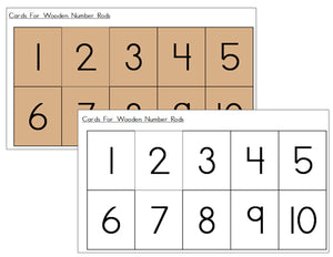 Number Cards for Montessori Number Rods