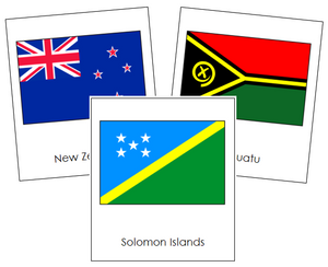 Oceanian Flags - Montessori geography cards