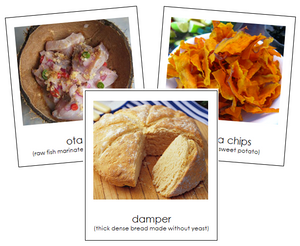 Australian/Oceanian Food - Montessori geography cards