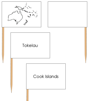 Oceania Map Labels: Pin Flags - Montessori geography materials