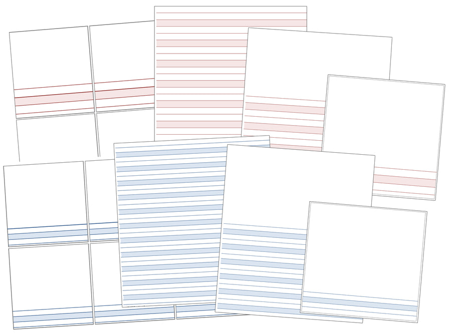 Montessori pink and blue lined paper bundle - Montessori Print Shop