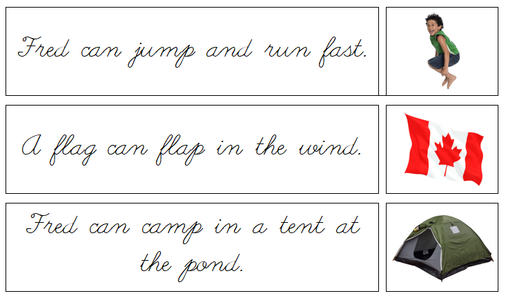 Phonetic Sentences & Pictures - Set 2 - Cursive