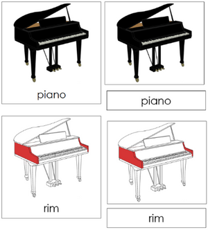 Piano Nomenclature Cards - Montessori