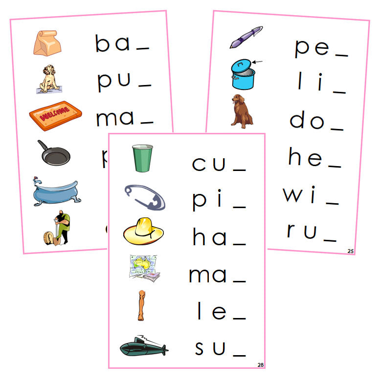 Pink Ending Sound Cards - phonetic language cards - Montessori Print Shop