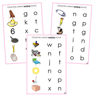 Pink Ending Sound Choice Cards - phonetic language cards - Montessori Print Shop