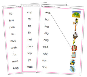 Pink Word & Picture Match - phonetic language cards - Montessori Print Shop