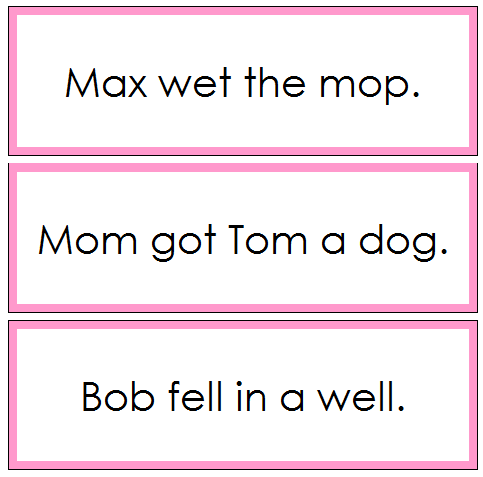 Pink Sentence Cards Set 2 - phonetic sentences
