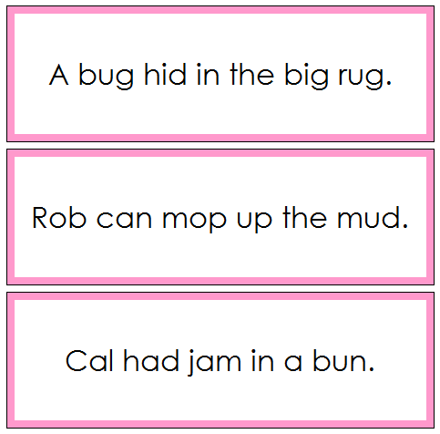 Pink Sentence Cards Set 3 - phonetic sentences