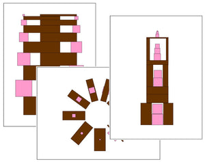 Montessori Pink Tower & Brown Stair Pattern Cards ( Set 3) - Montessori Print Shop
