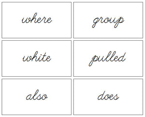 Puzzle Word Cards (cursive) - Montessori Print Shop