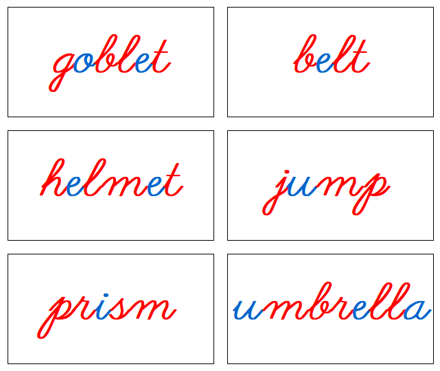Phonetic Word Cards (red/blue) Cursive Level 2- Montessori Print Shop