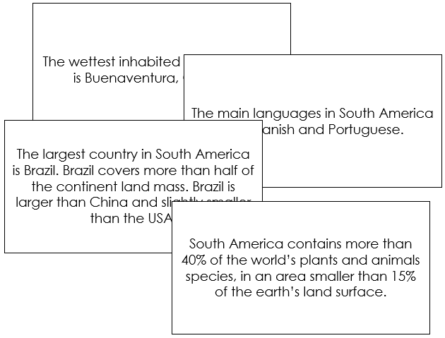 South America Fun Facts - Montessori geography cards