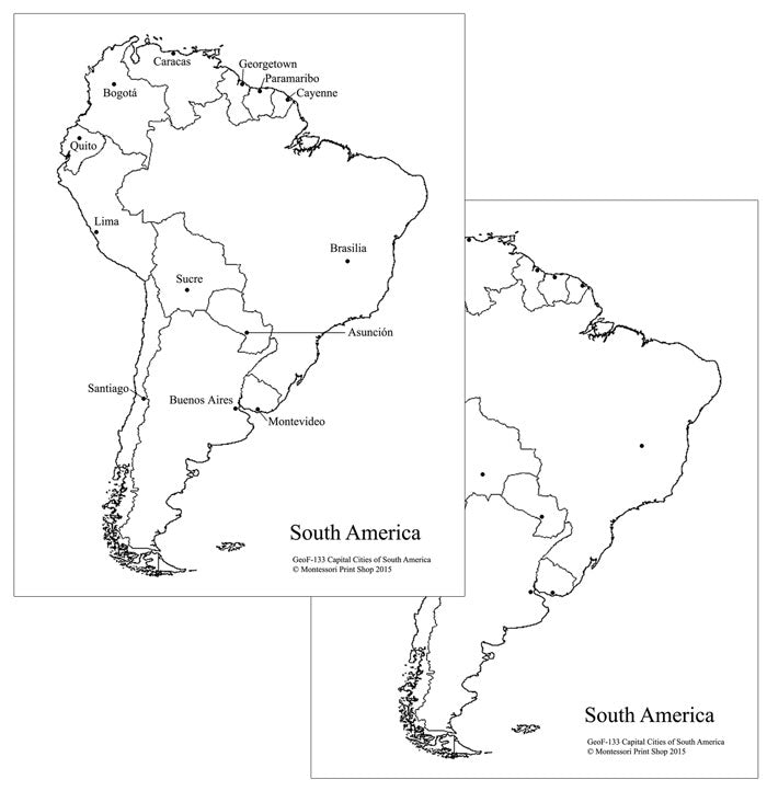 graphic relating to Printable Map of South America identify South American Funds Metropolitan areas Map - Montessori Print Retail store