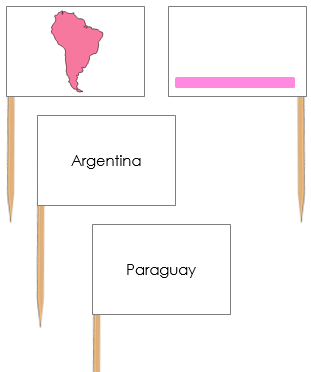 South America Map Labels: Pin Flags - Montessori geography materials