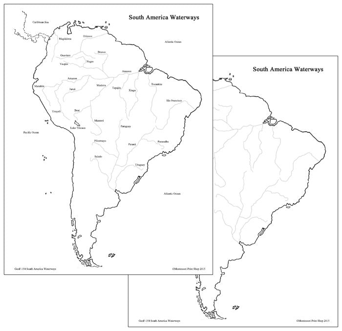 South American Waterways Map - Montessori Print Shop