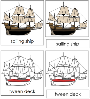 Sailing Ship Nomenclature 3-Part Cards (red) - Montessori Print Shop