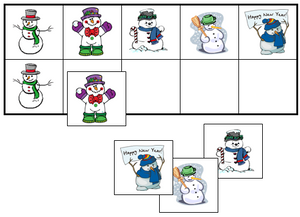 Snowman Match-Up & Memory Game - Montessori Print Shop