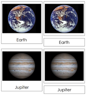 solar system nomenclature 3-part cards - Montessori Print Shop astronomy cards