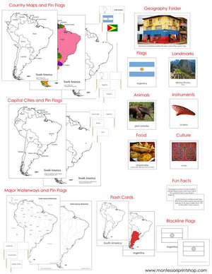 South America Geography Deluxe Bundle - Montessori geography cards and maps