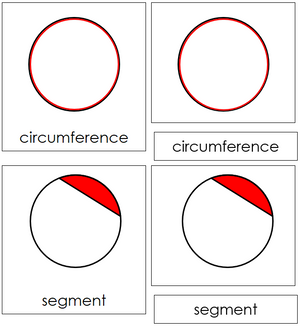 Study of a Circle Cards - Montessori geometry 3-Part Cards