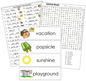 Summer Word Wall - Montessori Print Shop
