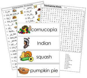 Thanksgiving Word Wall - Montessori Print Shop