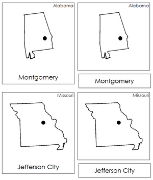 United States Capital Cities - Montessori geography cards