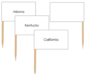 United States Map Labels: Pin Flags - Montessori geography materials