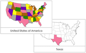 United States Flashcards (color-coded) - Montessori Print Shop geography cards