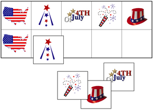 US 4th of July Match-Up & Memory Game - Montessori Print Shop