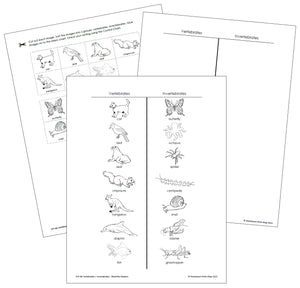 Vertebrates and Invertebrates (Blackline Masters) - Montessori Print Shop