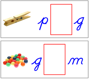 Vowel Sound Cards (cursive) - Blue/Red