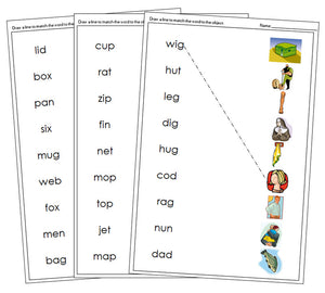 Step 1: Phonetic Word & Picture Match - Montessori language cards - Montessori Print Shop